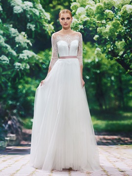 Elegant Scoop Neck Lace A Line Wedding Dress With Sleeves