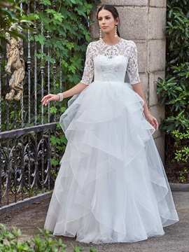 High Quality Jewel Half Sleeves A Line Lace Wedding Dress