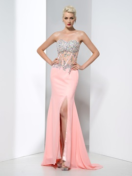 Fashionable Sweetheart Split-Front Crystal Sheath Evening Dress