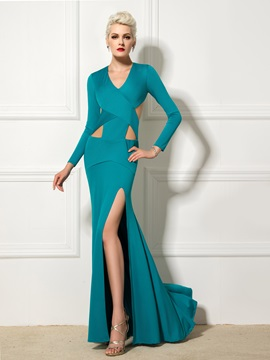 Graceful Backless V-Neck Long Sleeves Split-Front Hollow Long Evening Dress