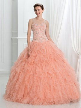 Straps Beading Ruffles Ball Gown Quinceanera Dress