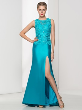 Graceful Straps Split-Front Lace Evening Dress