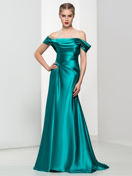 Off the Shoulder Draped Long Evening Dress