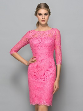 Half Sleeves Sheath Backless Lace Cocktail Dress