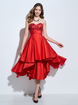 Sweetheart Sequins Appliques Asymmetrical Homecoming Dress