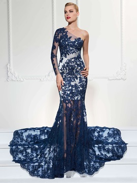 Vintage Mermaid One-Shoulder Long Sleeves Appliques Lace Court Train Evening Dress