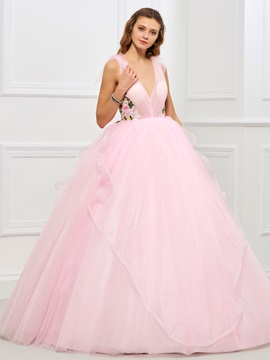 Sweet V-Neck Ball Gown Appliques Flowers Ruffles Floor-Length Quinceanera Dress