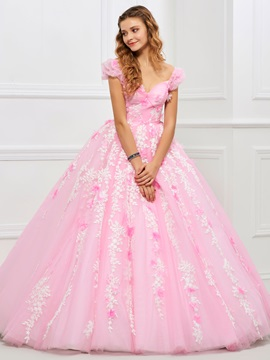 Charming Sweetheart Ball Gown Appliques Ruched Floor-Length Quinceanera Dress