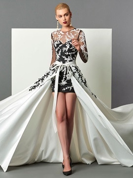 Hot Sheath Scoop Long Sleeves Appliques Sashes Court Train Evening Dress