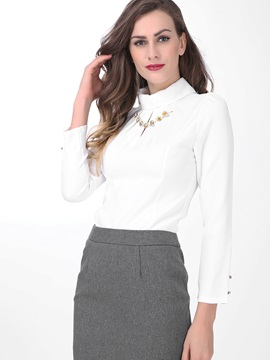 Special Decoration Stand Collar Work Shirt