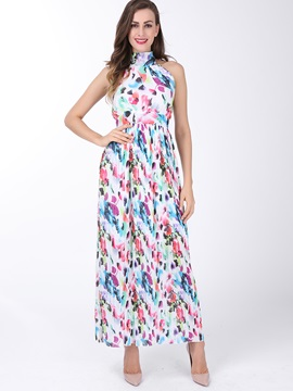 Backless Floral Print Turtleneck Pleated Maxi Dress