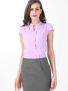 Chic Pleated Decoration Collar Slim Shirt