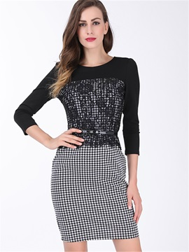 Plaid 3/4 Sleeve Lace Patchwork Work Dress