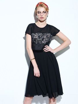 Vintage Short Sleeve Patchwork Hollow Day Dress
