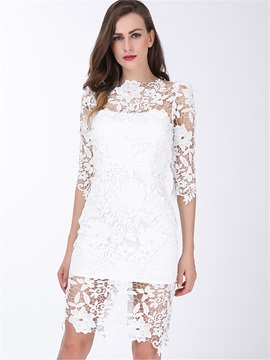 Embroidery Hollow Patchwork Sexy Day Dress