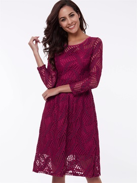 Nine Points Sleeve Hollow  Day Dress