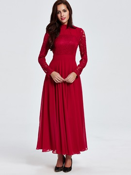 Solid Lace Patchwork Empire Waist Maxi Dress