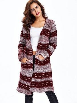 Contrasting Color Mid-Length Women Cardigan