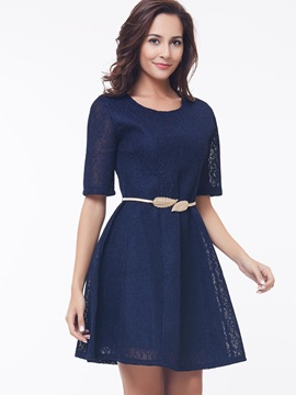 Solid Half Sleeve Belt Day Dress