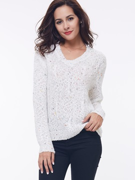 Stylish Fancy Yarn V-Neck Sweater