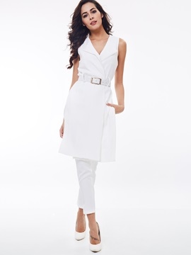 White Lapel Belt Coat Pants 2-Piece Sets