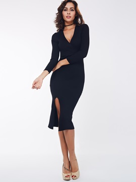 Solid V-Neck Nine Points Sleeve Bodycon Dress