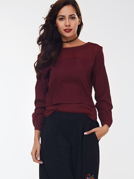 Simple Back Zippered Long Sleeve T-Shirt