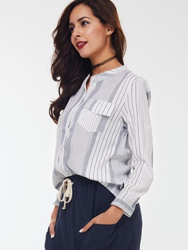 Casual Stripe Pocket Loose Shirt