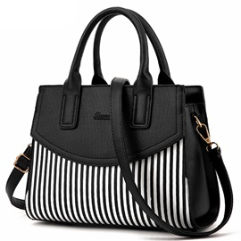 Double Stripe Color Contrast Fashion Satchel