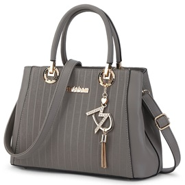 Ladylike Stripe Embossed Tassel Women Satchel