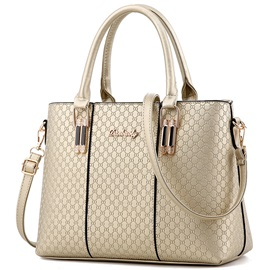 Simple Solid Color Embossed Women Satchel