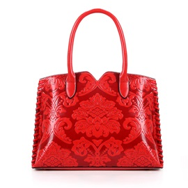 Vintage Chinese Style Floral Embossed Women Satchel