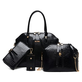 Croco-embossed Double- Decorated Bag Set(Four Bags)