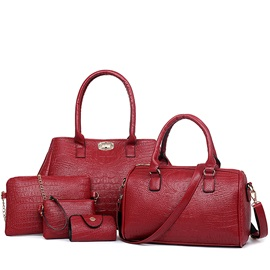 Classic Crocp-embossed Pure Color Women's Bag Set ( Five Bags )