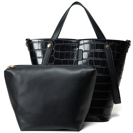 Croco Skin Pail Design Handbag Sets