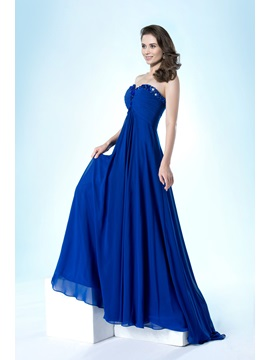 Simple Style Sweetheart Pleats Beading A-Line Sweep Train Floor-Length Evening Dress