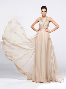 Beading Halter A-Line Brush Train Long Evening Dress Designed