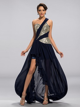 A-Line One-Shoulder Sequins Beading Split-Front Long Evening Dress