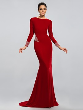 Ladylike Mermaid Long Sleeves Beading Court Train Long Evening Dress