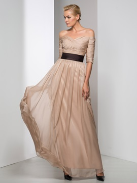 Elegant Off-the-Shoulder Half Sleeves Pleats A-line Long Evening Dress