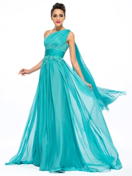 Eye-catching A-Line One-Shoulder Empire Ruched Long Evening Dress