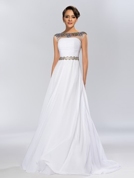 Dazzling A-Line Bateau Neckline Beading Sweep Train Long Evening Dress