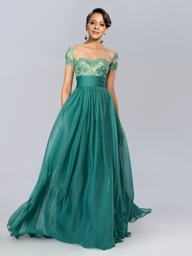 A-line Tulle Neckline Appliques Beading Short Sleeves Evening Dress Designed