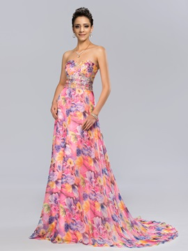 Dazzling Sweetheart Beaded Floral Printing Long Evening Dress