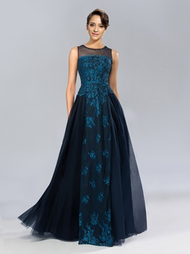 Classic Jewel Neck Lace Beading Long Evening Dress Designed