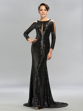 Luxurious Long Sleeves Sequins Court Train Evening Dress Designed