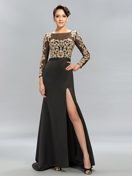 Vintage Long Sleeves Lace Split-Front Long Evening Dress Designed
