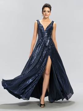 Shiny A-Line V-Neck Sequins Split-Front Long Evening Dress Designed