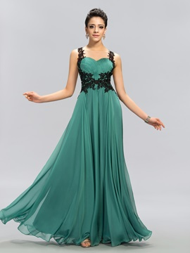 Tulle Neckline Appliques Backless Long Evening Dress Designed