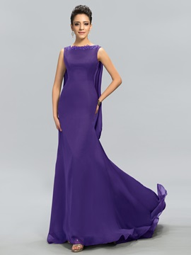 Bateau Neck Appliques Mermaid Long Evening Dress Designed